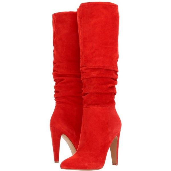 Steve Madden Carrie (Red Suede) Women's Pull-on Boots ($170) ❤ liked on Polyvore featuring shoes, boots, knee-high boots, slouchy knee high boots, red suede boots, suede knee-high boots, over-knee boots and faux suede boots