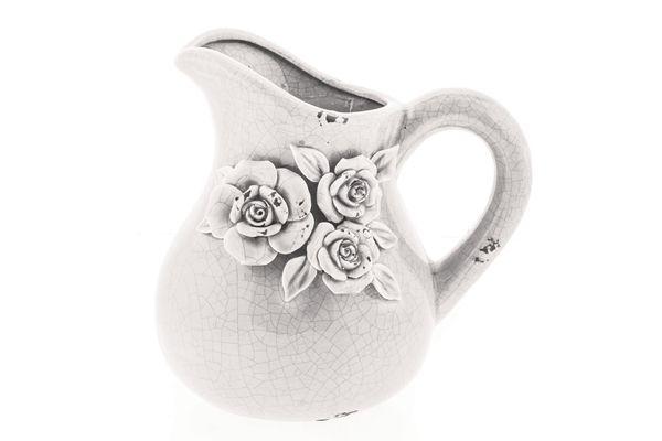 Casa Uno Ceramic Flower Motif Jug Dinnerware Antiqued White - NEW
