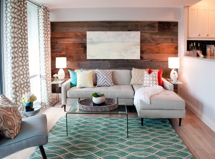 Reclaimed grey and brown barn board feature wall - from Property Brothers episode - wood supplied by barnboardstore.com