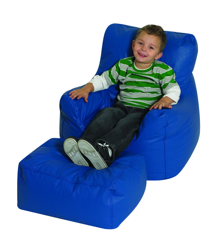 Cuddle Ups Cozy Chair And Ottoman Set CF610 038 Blue