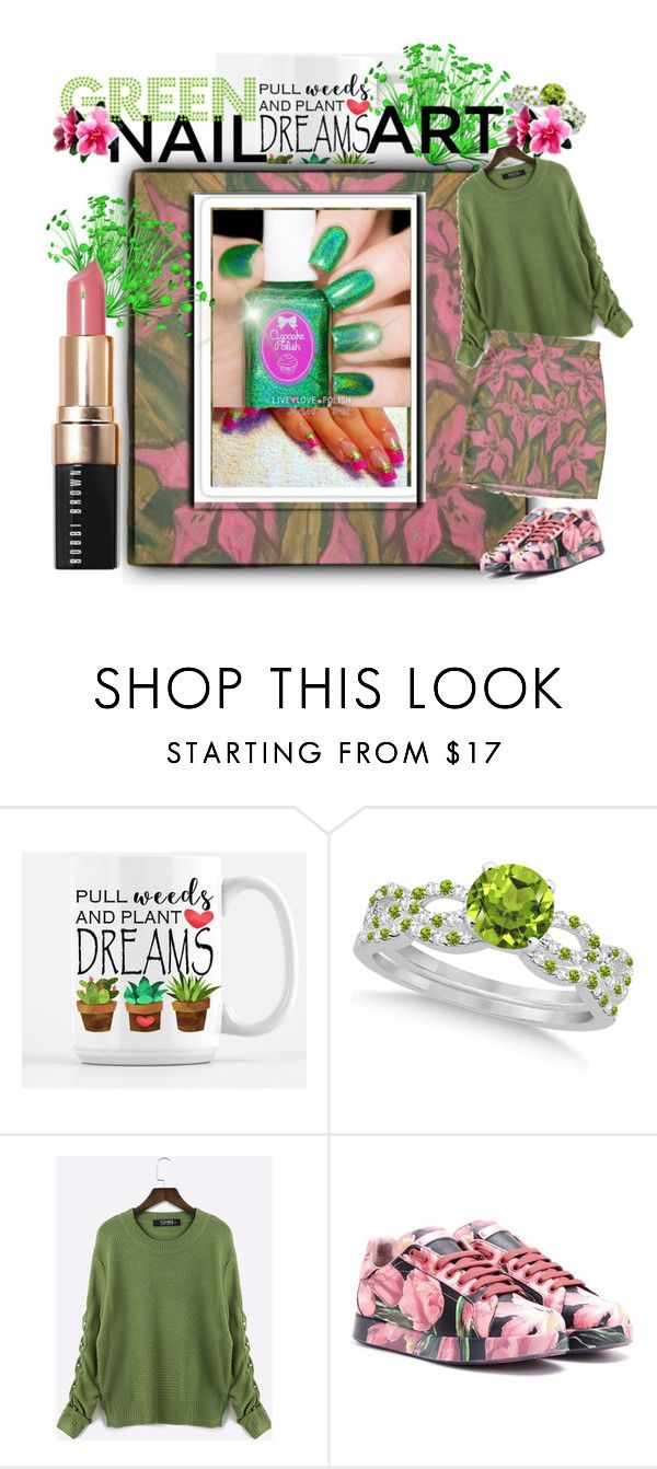 """""""🌿Green Nail Art🌸Pink Hibiscus"""" by tmcintyre ❤ liked on Polyvore featuring beauty, Allurez, Été Swim, Dolce&Gabbana, Bobbi Brown Cosmetics and nailedit"""