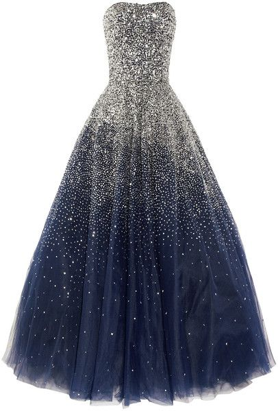 MARCHESA, Sequined Strapless Silk Tulle Gown. GORGEOUS!! I'll never be able to wear it out but it's still pretty