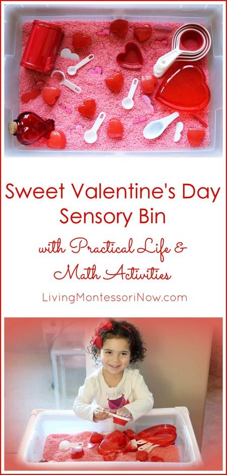 A sweet Valentine's Day sensory bin for toddlers and preschoolers with practical life activities and a math scavenger hunt; post includes embedded YouTube video and Montessori Monday linky collection.