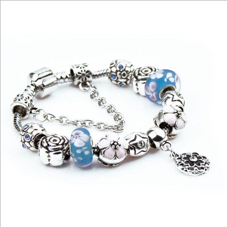 2017 Hot Europese Stijl Liefde Charm Armbanden Vrouwen Mode Blue Crystal  Armbanden Bracelet Elegant Bangles DIY Sieraden