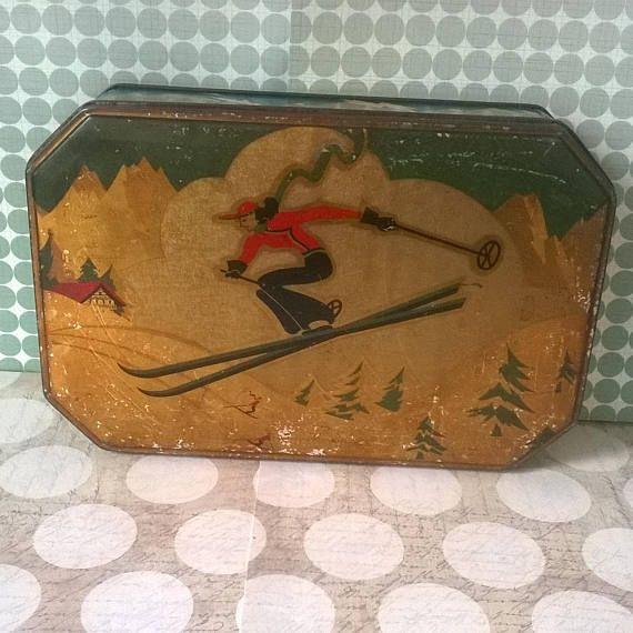 Art Deco J Lyons & Co Vintage Tin Alpine Skiing Ski Jump