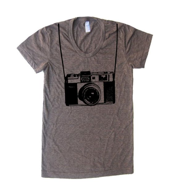 Womens Vintage Camera T Shirt - American Apparel Tshirt - S M L XL (20 Color Options) on Etsy, $19.00