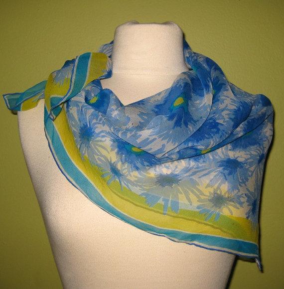 vera ladybug logo vintage scarf sheer silk crepe scarf