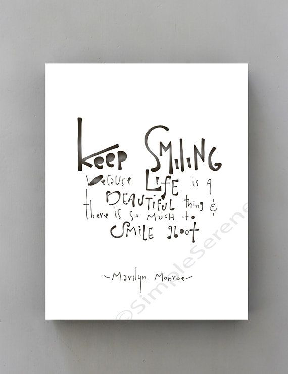 Keep Smiling... Marilyn Monroe wall Quote Typographic Print, Inspirational Art Black and White marilyn monroe poster