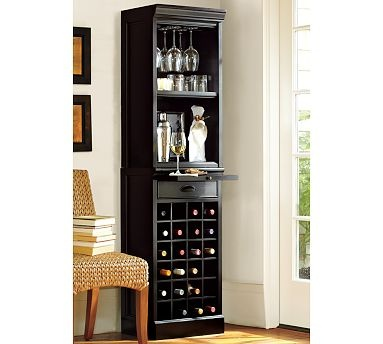 I REALLY want a bar...like this one from Pottery Barn because it is compact with wine storage...just wish it had door on the top!
