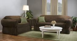 @Overstock - This Reeves stretch slipcover offers a patented separate seat cushion cover and elastic corners to provide a custom look and fit.  This slipcover doesn't slip or require as much tucking as traditional slipcovers.http://www.overstock.com/Home-Garden/Reeves-Stretch-2-piece-Sofa-Slipcover/5126603/product.html?CID=214117 $73.99
