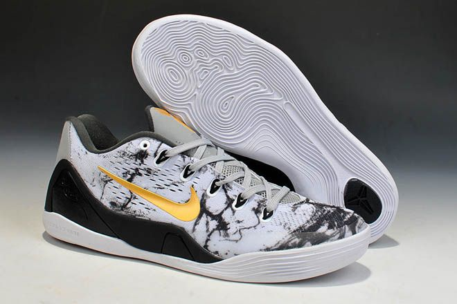 Mens Low-Top Nike Kobe EM 9 Basketball Shoes in Color White Black Gold for Sale