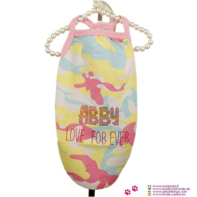 Débardeur d'été pour Petit Chien en Rose Camouflage - Débardeur d'été en Rose Camouflage pour un petit chien, faite dans des couleurs pastel: rose, jaune, bleu clair et blanc, pour chihuahua, caniche, ...