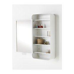 IKEA - GUNNERN, Spiegelschrank 1 Tür, weiß, , Erhöhte Kanten an den Ablagen - alles bleibt am Platz.Spiegel mit Sicherheitsfolie auf der Rückseite, die das Gefahrenrisiko durch splitterndes Glas mindert.