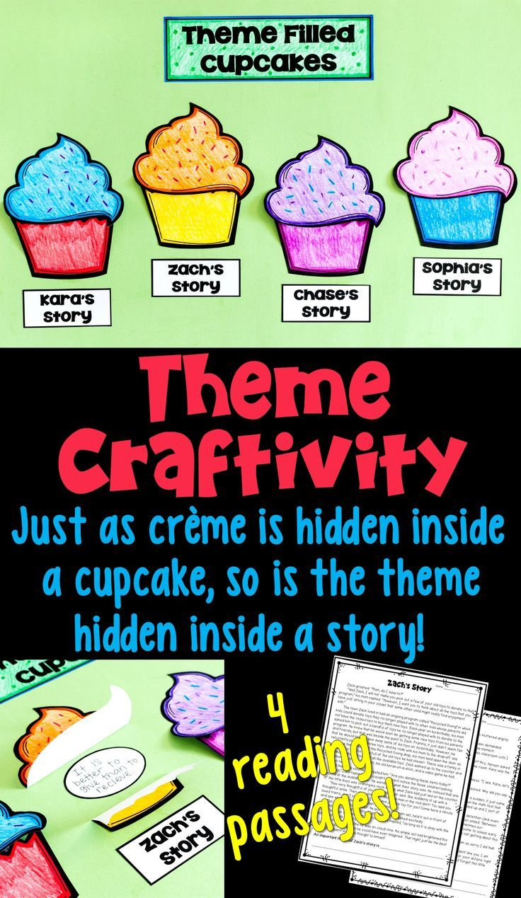 Themes activity for the upper elementary reading classroom! Students read four short stories, and determine the theme of each. Your students will surely remember theme when you use the creme filled cupcake analogy. These craftivities create a great bulletin board, too!