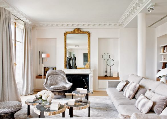 Traditional formal Parisian living room with modern furnishing and Platner chair.