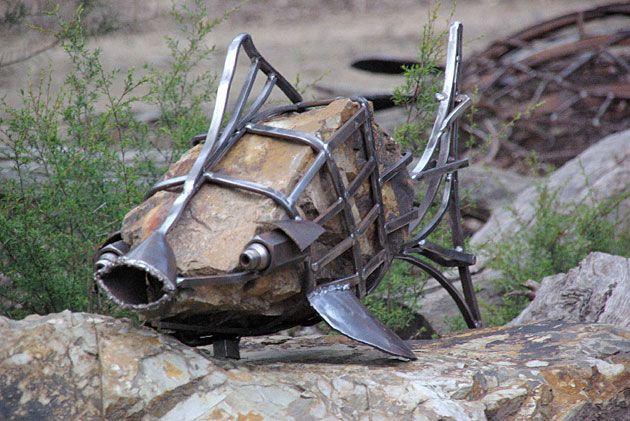 'Rockling', recycled metal sculptures and garden art, Tread Sculptures, Kangaroo Ground, Victoria