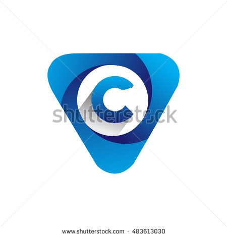Logo letter C blue colored in the triangle shape, Vector design template…