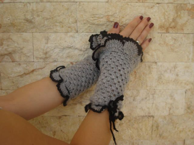Half-fingered Gloves - in gray color with black details, Women's Medium - hand crocheted by stellaknittingshop on Etsy