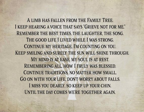 A Limb Has Fallen From Our Family Tree Print Sympathy