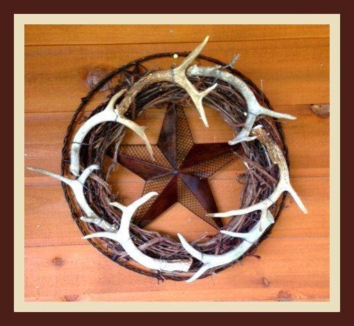 Wreath,Hunting,Summer Wreath,Antler Wreath,Hunting Decor,Lodge Decor,Wrought Iron Wreath, Deer Wreath,Texas Wreath on Etsy, $229.00