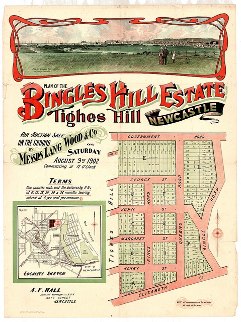 M1593 - Bingle's Hill Estate Subdivision Plan, Tighes Hill, Newcastle, Saturday August 9th, 1902. by Cultural Collections, University of Newcastle, via Flickr