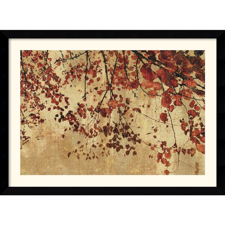 This horizontal contemporary framed art print will add visual appeal over your couch or mantel. 'Colorful Season' features red autumn leaves against a gold background, providing a warm glow that will accentuate your current interior design.