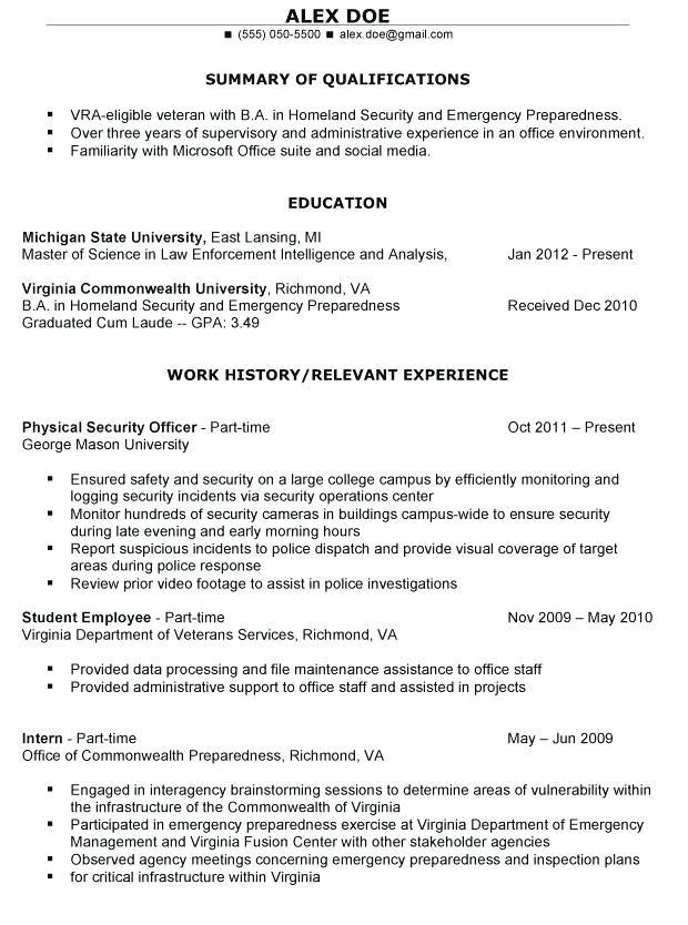 military to civilian resume