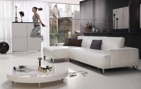 Furniture, Elegant Sporty Loft Apartment Living Room With Grey Faux Brick Wall Feature Beautiful Luxury Stylish All White Ikea Living Room Furniture Sets By L Shape Lounge Sofa And Low Profile Round Coffee Table Also Freestanding Cabinet On White Epoxy Floor Design Ideas ~ Neoteric Living Room Sets IKEA for Great Room Elegance