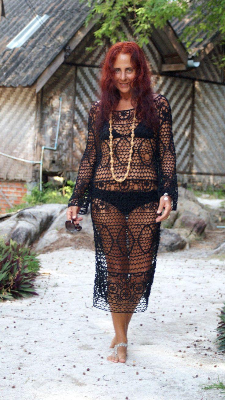 Hot Summer! Wonderful Black Cover Up Dress Lace Vestito Tunica Copricostume Mare Donna Pizzo Nero Manica Lunga Cotone Acrilico Taglia  S/M di BeHappieWorld su Etsy
