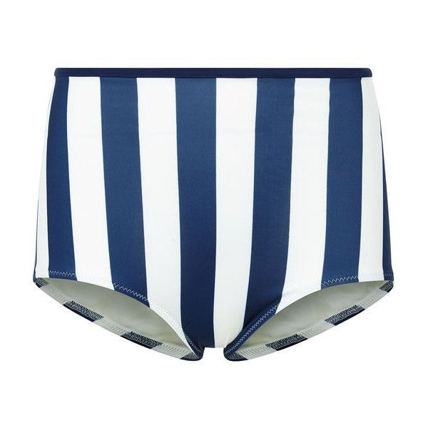 Solid & Striped Navy & Cream Brigette Pant ($70) ❤ liked on Polyvore featuring swimwear, bikinis, bikini bottoms, high rise bikini bottoms, thin bikini, navy blue bikini bottoms, navy bikini bottoms and retro high waisted bikini