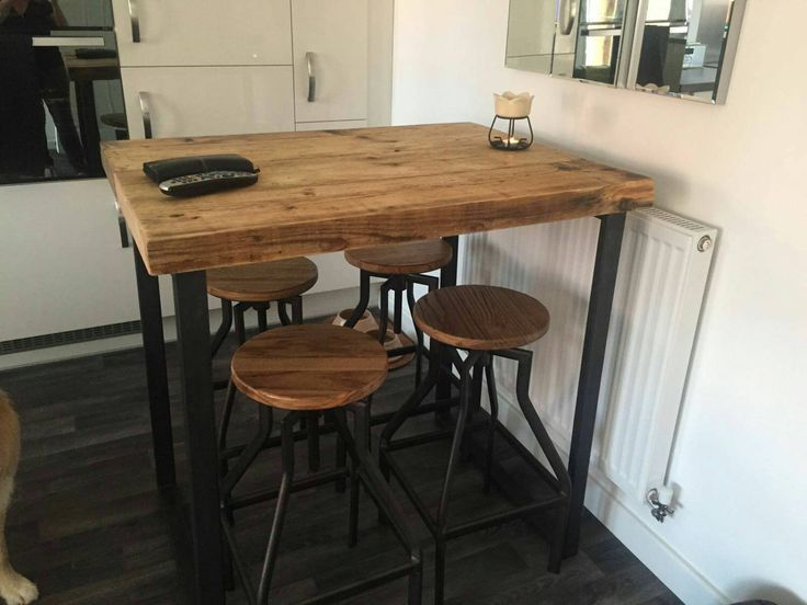 Industrial style tall bar table by NdstrlCrafts on Etsy https://www.etsy.com/listing/499335960/industrial-style-tall-bar-table