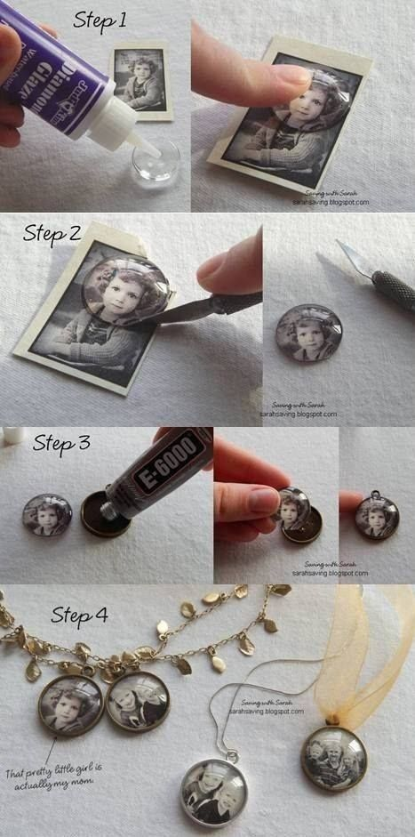 #17. Create a keepsake photo pendant.  Putting a photo of a loved one on a necklace is a great way to keep them close. Add some vintage flair by putting the photos in black and white.  Create a keepsake photo pendant.
