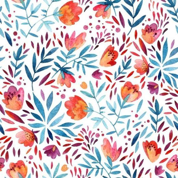 Retro Flowers Kids Wallpaper Self Adhesive Wallpaper Wall Etsy Poppy Wallpaper Watercolor Pattern Flower Wallpaper
