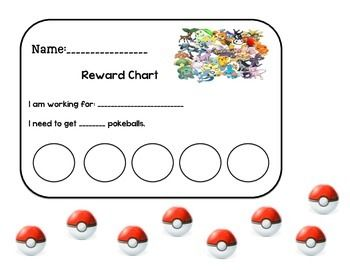 This is a Pokemon Reward Chart. Students can work towards a goal and earn Pokemon balls to earn a reward after meeting their goal.