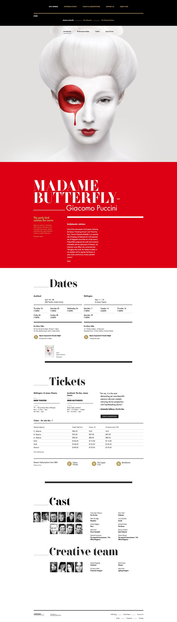 "New Zealand's Best Interactive Design. ""NBR NZ Opera by Sons & Co."" - #interactive #web #design"