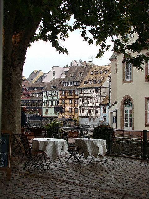 Streetside cafe in Strasbourg, France