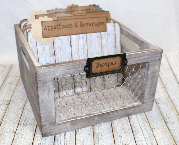 Farmhouse Recipe Box With Chicken Wire Rustic Recipe Box And Dividers 5 X 7 Dividers Large Recipe Bo Rustic Recipe Box Farmhouse Recipe Box Large Recipe Box