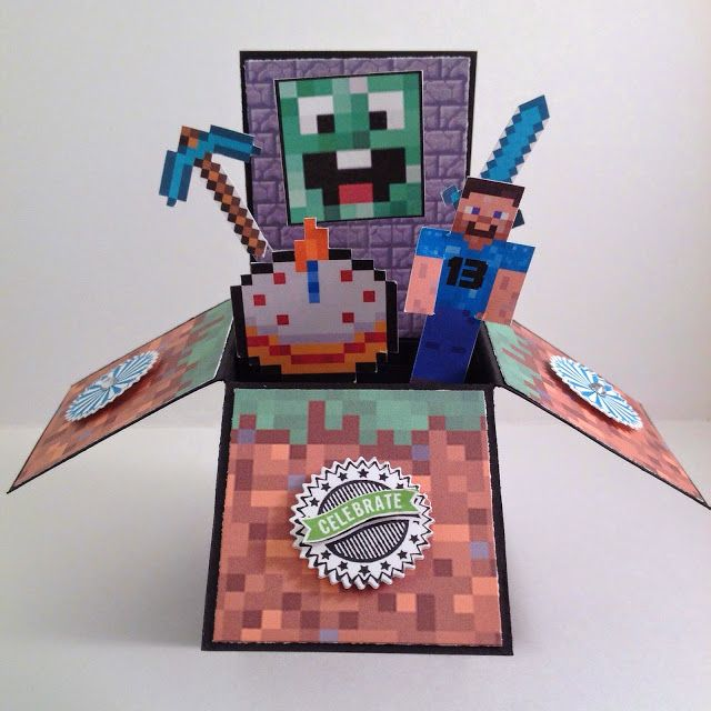 Minecraft Birthday Card In A Box - 13th Birthday!