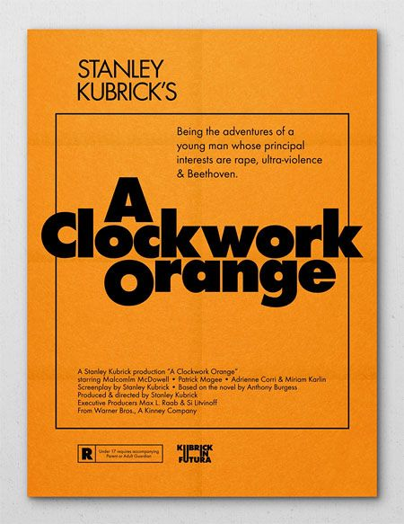 Stanley Kubrick movie posters, set in the Futura typeface