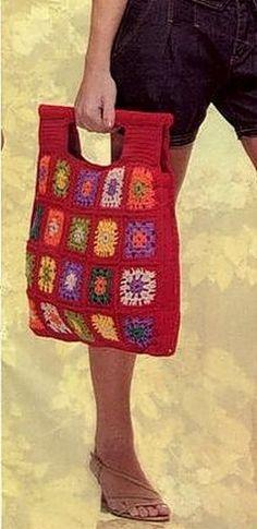 crochet granny square handbag, chart / diagram /// &  more bags on link