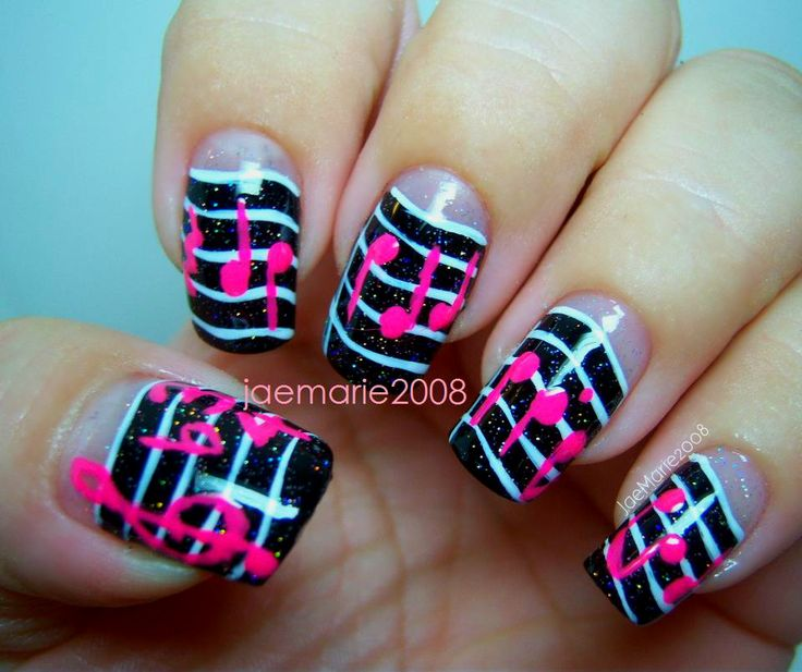 Music Notes Nail Design By JaeMarie2008 Tutorial click here: https://www. - Best 25+ Music Note Nails Ideas On Pinterest Music Nail Art