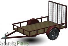 5x8 Utility Trailer Plans, Blueprints, piece part drawings, material list, construction details