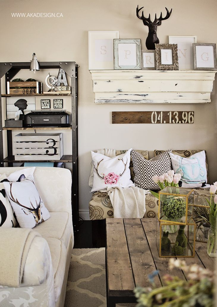 aka design spring mantel in living room. None of this is my style, but I LOVE the idea of matching letters spelling a word in multi-style frames