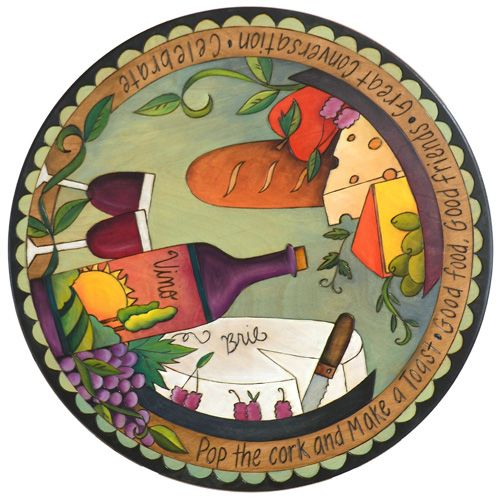 "20""D Small Lazy Susan - Wine Themed"