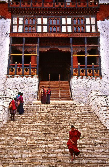 These steps are in an ancient Monastery in Bhutan. The monks scamper up and down these steps all day long