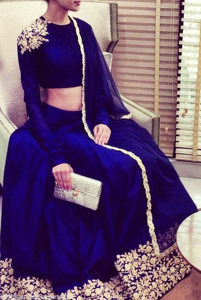 Beautiful indigo and golden color designer lehenga