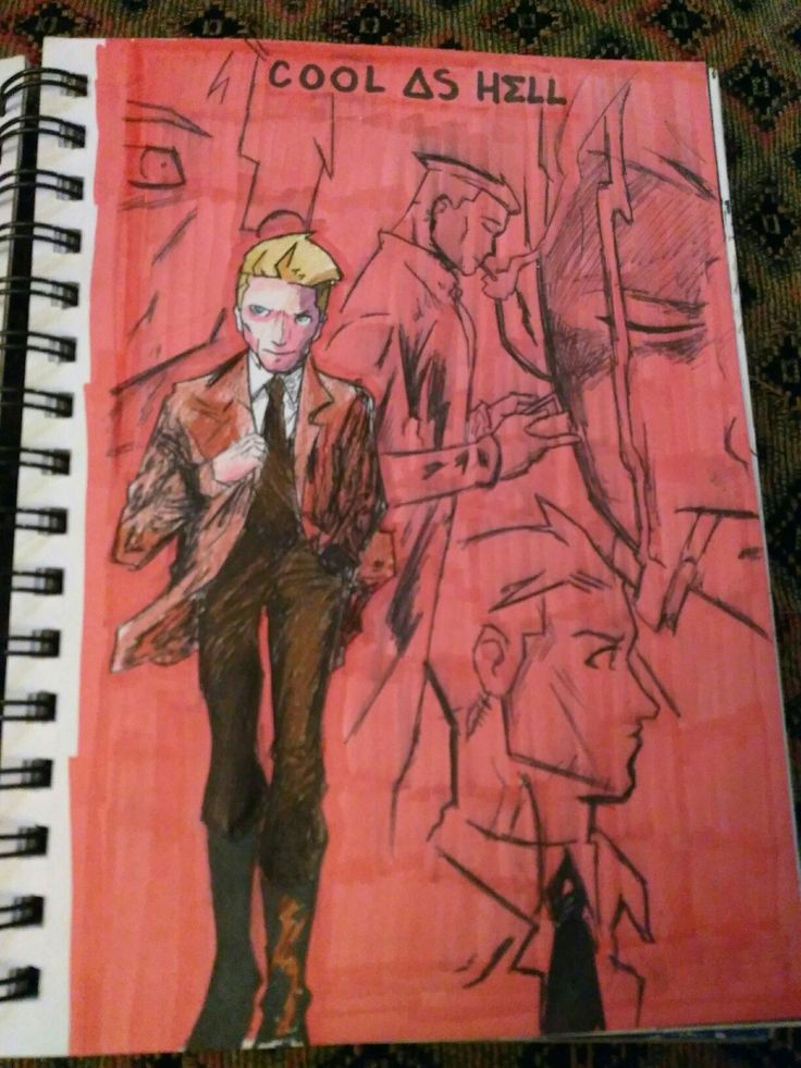 John Constantine comic book cover art from The Hellblazer series
