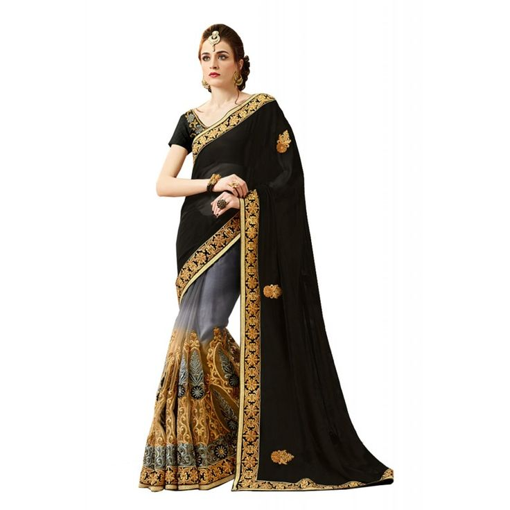 An excellent Black Net Saree will make you look quite stylish and graceful. The ethnic Lace & Butta Work work at the clothing adds a sign of attractiveness statement with your look.