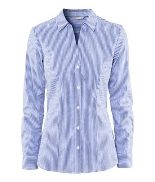 White And Blue Striped Shirt Womens