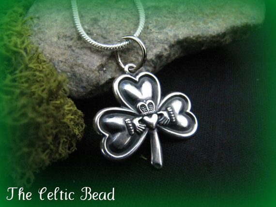 Irish Shamrock Claddaugh Silver Pendant Necklace by TheCelticBead, $15.00